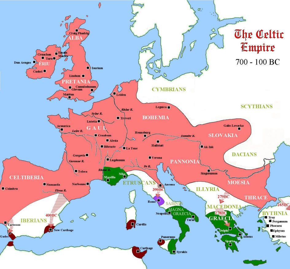 Mapa Celias en Europa - 799 aC a 100 aC