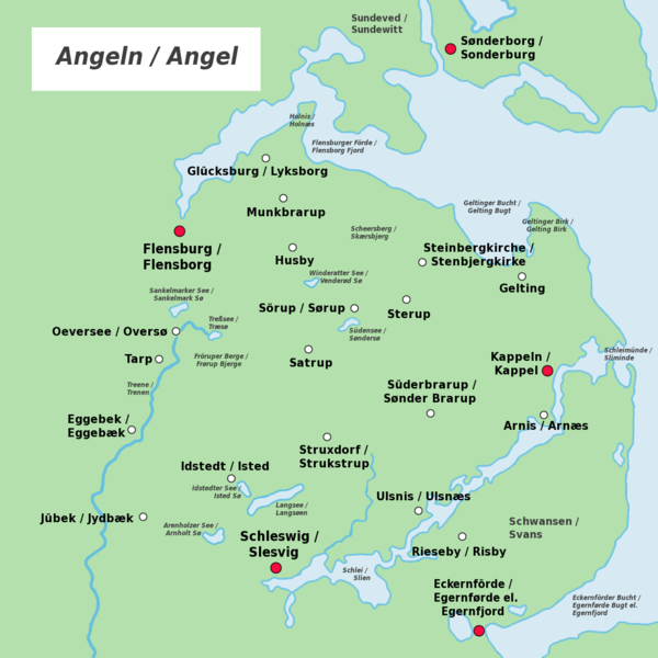 Anglos / Anglia (German and Low Saxon: Angeln, Danish and South Jutlandic: Angel)