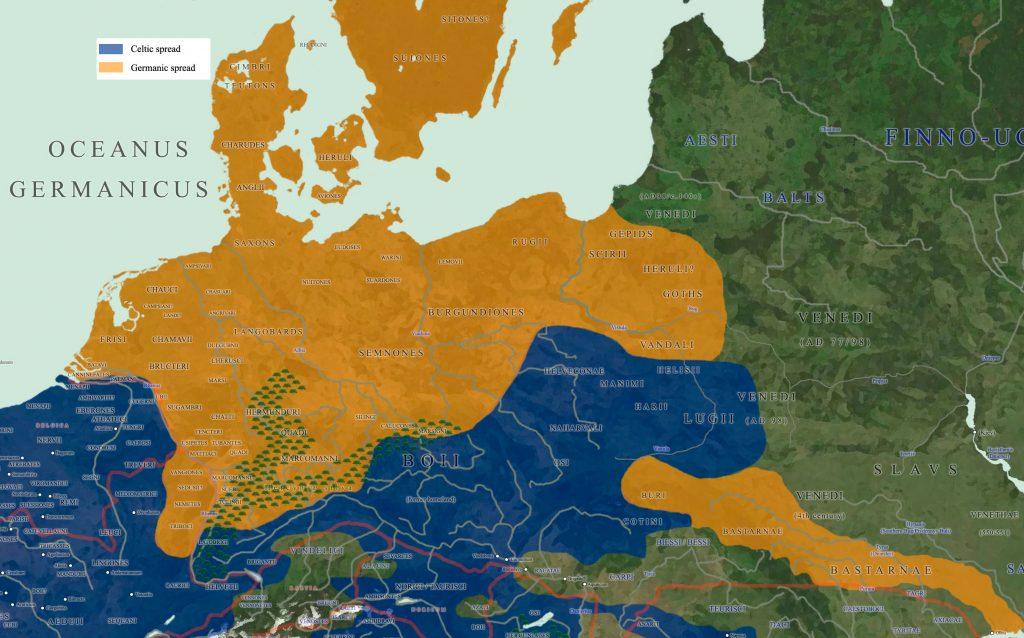 Mapa de asentamiento de las principales Tribus Germánicas