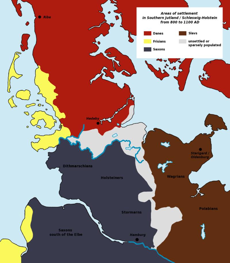 Pueblos y Tribus Germánicos / Sajones (Saxons) - Zonas de asentamiento