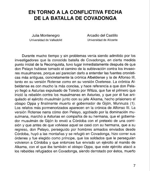 La conflictiva fecha de la batalla de Covadonga