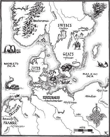 Map of Scandinavia in Beowulf