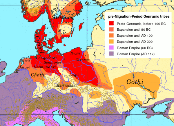 Territorios habitados por tribus germánicas orientales entre el 100 aC y el año 300
