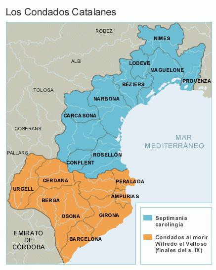 Condados catalanes y Septimania Carolingia