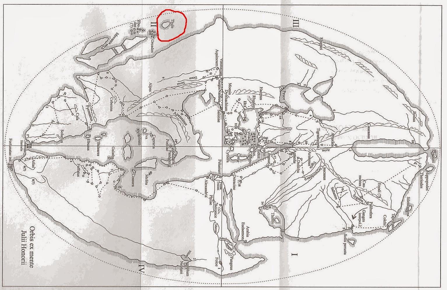 Localización de Tule en el mapa del mundo romano de Julio Honorio (s. V), según Kubitchek (1886).