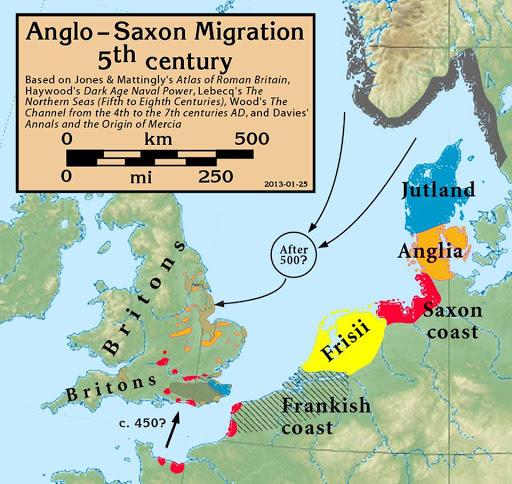Anglos y Saxones - Movimiento migratorio Siglo V