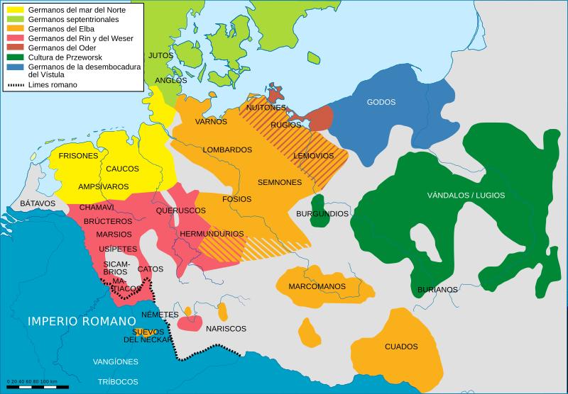 Localización de los burgundios a mitad del siglo I dC