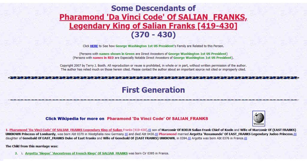 Descendientes de Pharamond - Da Vinci Code