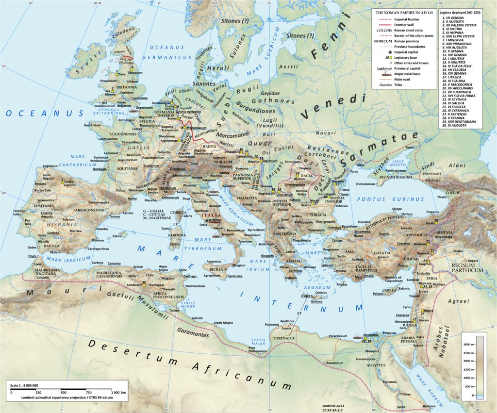 El Imperio Romano bajo Adriano (gobernado 117-138), que muestra la ubicación de los marcomanos en la región del Alto Danubio