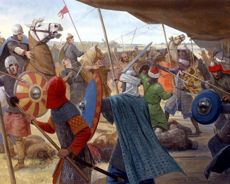 Batalla de Poitiers (732) -Eudes ataca el campamento musulmanEudes ataca el campamento musulman