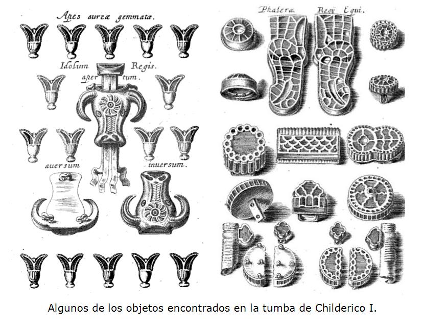 objetos encontrados en la tumba de Childeric I