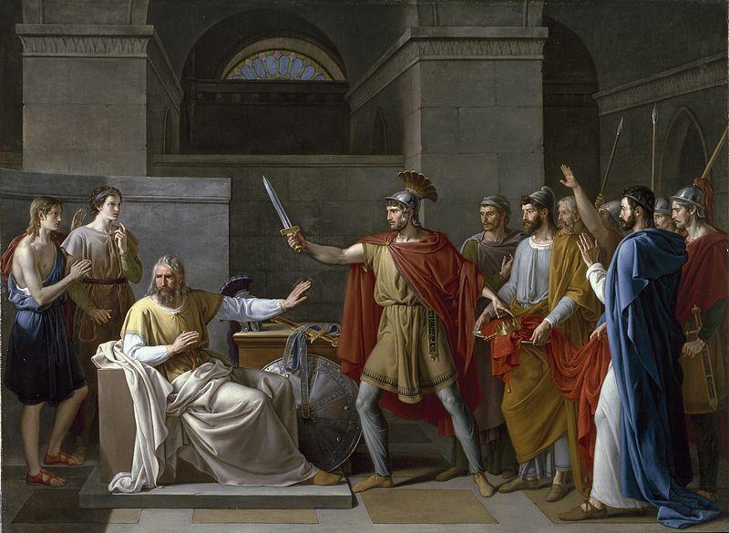 Rey Visigodo Wamba renunciando a la corona