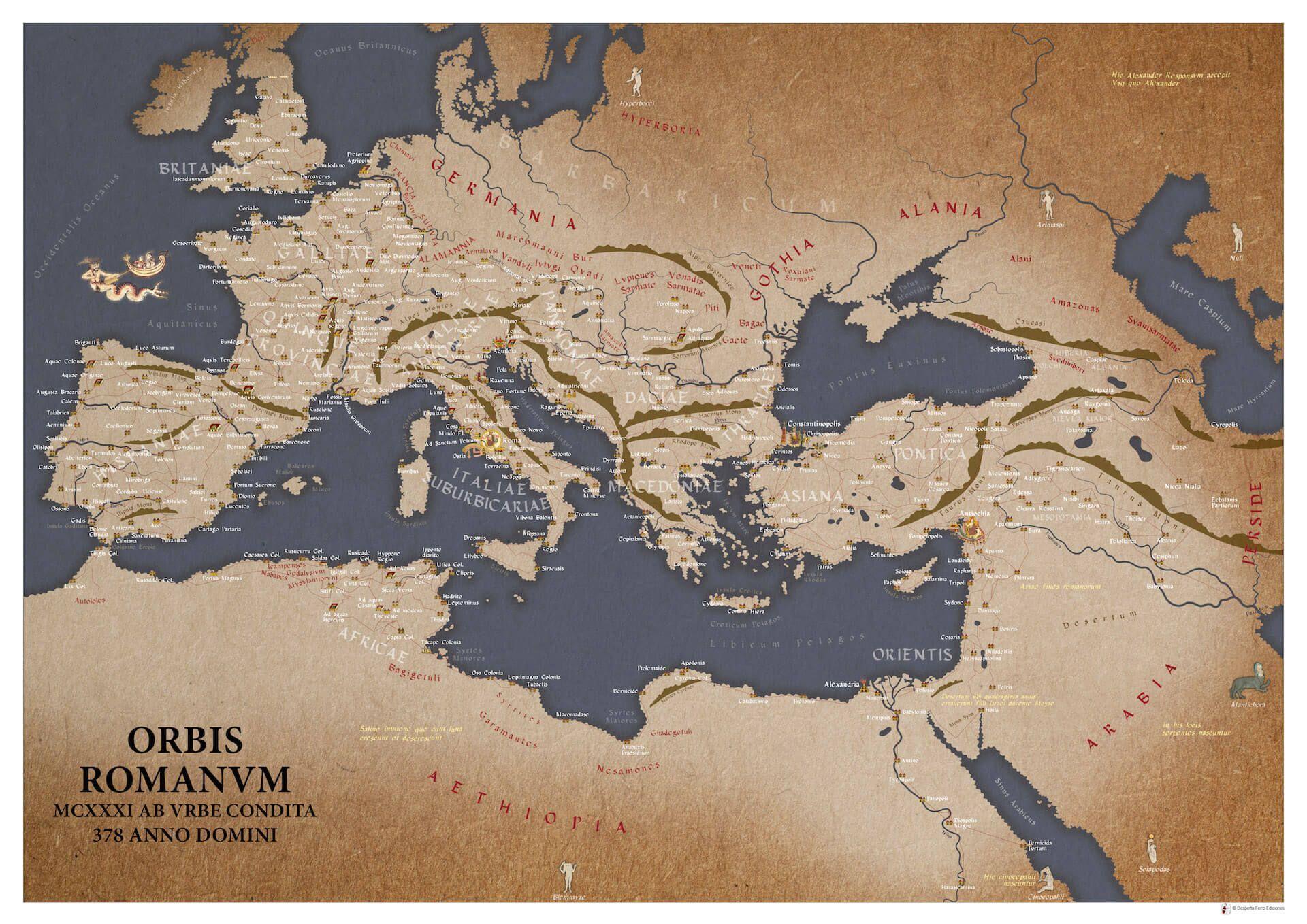 Mapa de Europa en año 378
