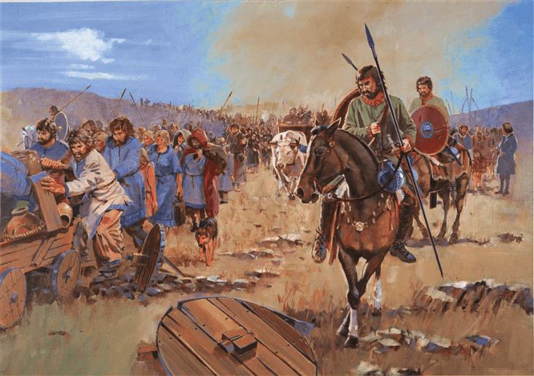 Visigodos dirigiendose al Danubio- Batalla de Adrianópolis